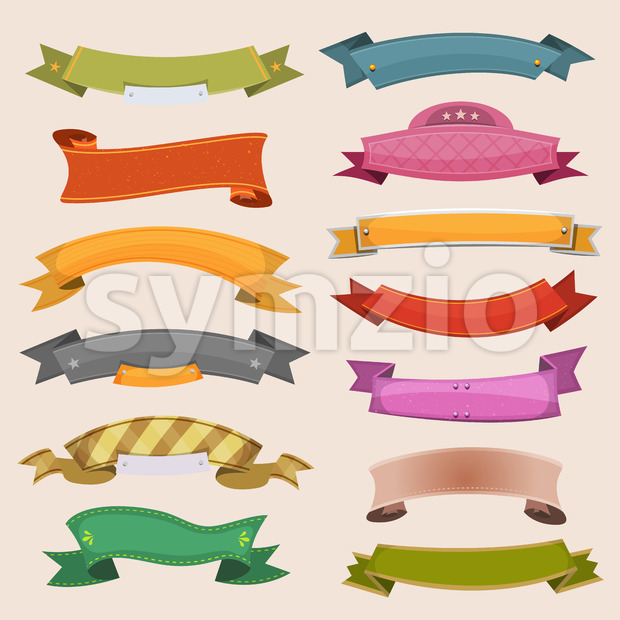 Cartoon Banners And Ribbons Stock Vector
