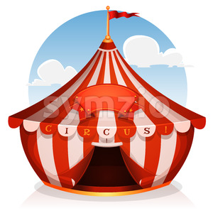 Big Top Circus With Banner Stock Vector