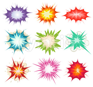 Comic Book Explosion, Bombs And Blast Set Stock Vector