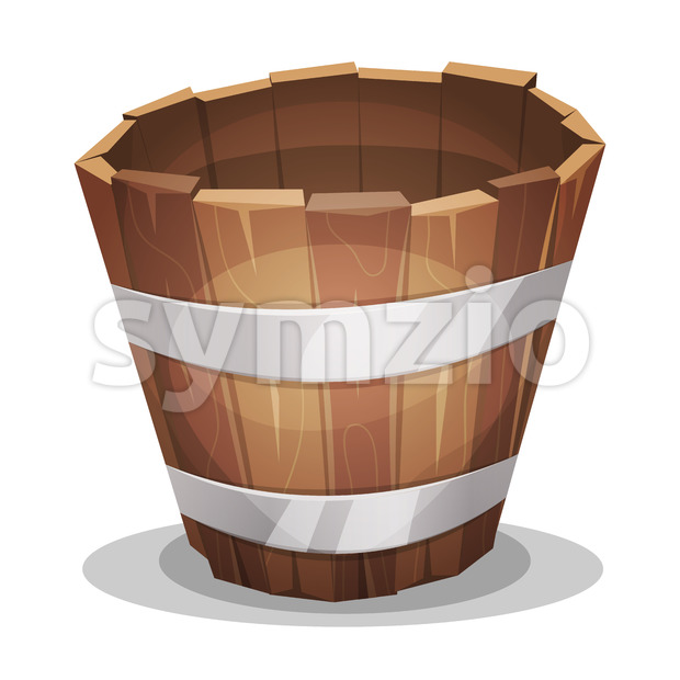 Cartoon Wood Bucket Stock Vector