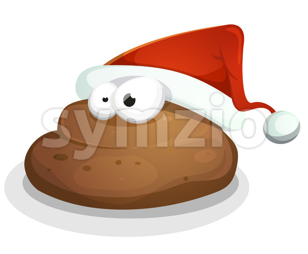 Funny Dung With Santa Hat Stock Vector
