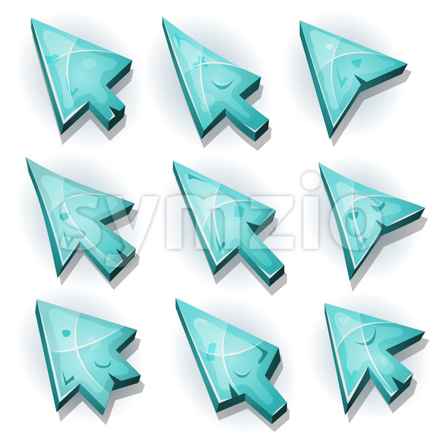Ice Icons, Cursor And Arrows Stock Vector