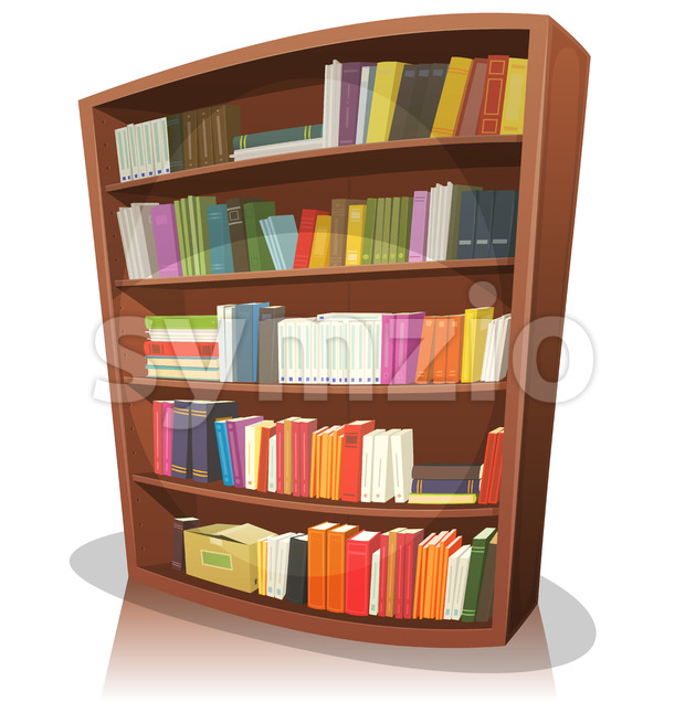 Cartoon Library Bookshelf Stock Vector