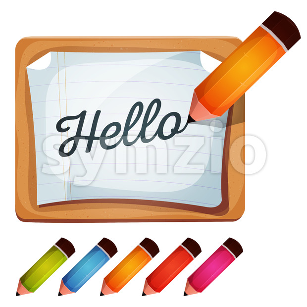 Pencil Drawing Word On Blank Sign Stock Vector