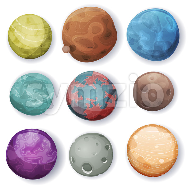 Comic Planets And Space Asteroids Set Stock Vector
