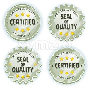Cartoon Silver Premium Quality Seals Stock Vector