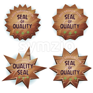 Cartoon Wooden Seal Of Quality Stock Vector