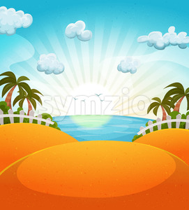 Cartoon Summer Beach Landscape Stock Vector