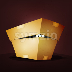 Surprise Inside Birthday Cardboard Box Stock Vector