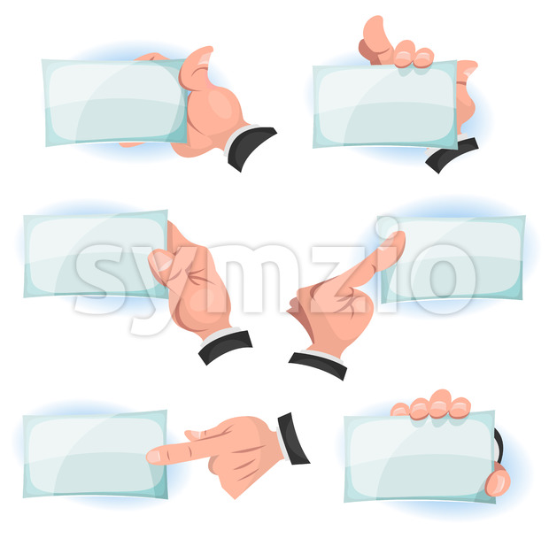 Comic Hands Holding ID Cards Signs Stock Vector