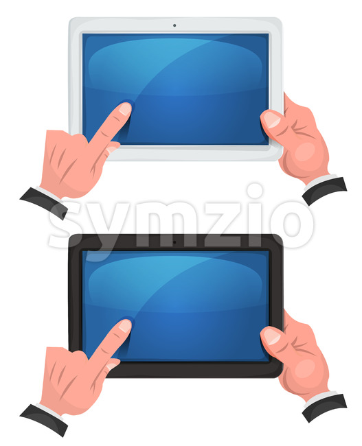 Hands Using Touch Screen On Digital Tablet Stock Vector