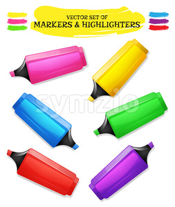 Highlighters And Felt Tip Pen Set Stock Vector