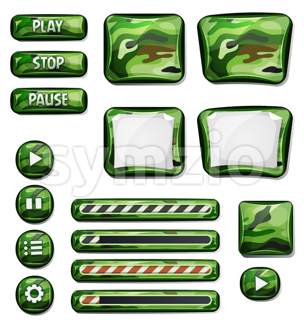 Illustration of a set of various cartoon design ui military, hunter and camo glossy elements including banners, signs, buttons, load ...