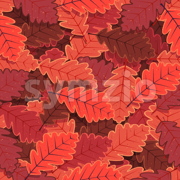 Illustration of a seamless background with winter red leaves for nature wallpaper with vintage texture effect