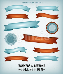 Vintage Banners And Ribbons Set Stock Vector