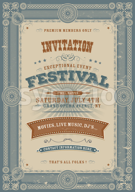 Vintage Holiday Festival Invitation Background Stock Vector
