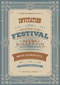 Vintage Holiday Festival Invitation Background Stock Vector