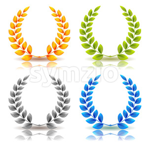 Awards And Laurel Leaves Wreath Set Stock Vector