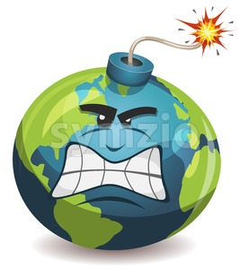 Earth Planet Warning Bomb Character Stock Vector