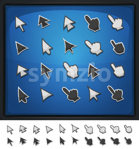 Comic Computer Cursors, Pointers And Arrows Icons Stock Vector