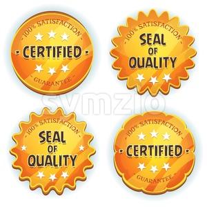 Cartoon Gold Premium Quality Seals Stock Vector