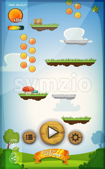 Jump Game User Interface Design For Tablet Stock Vector