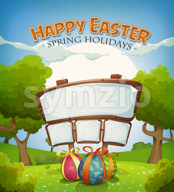 Illustration of a cartoon happy easter holidays background in spring or summer landscape season, with chocolate eggs gifts and announcement ...