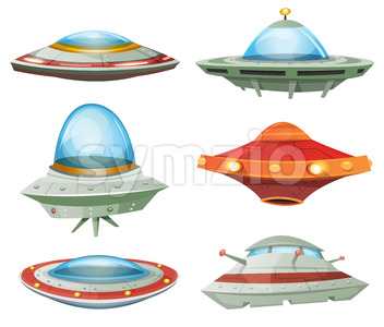 Flying Saucer, Spaceship And UFO Set Stock Vector