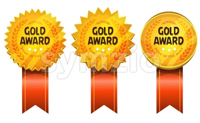 Gold Awards Medals And Ribbons Stock Vector