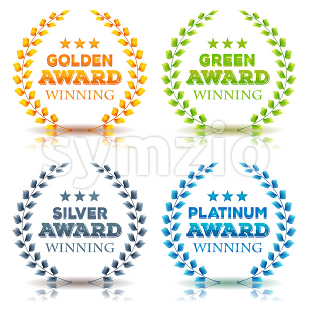 Awards Winning And Laurel Leaves Set Stock Vector