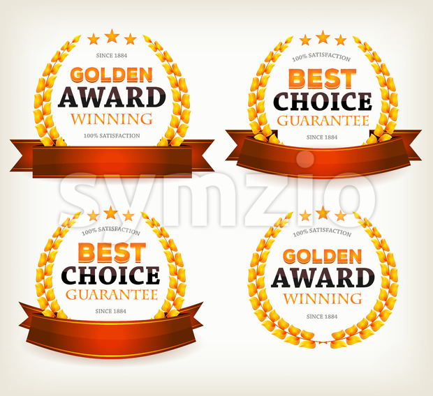 Awards Banners, Ribbons And Laurel Leaves Stock Vector