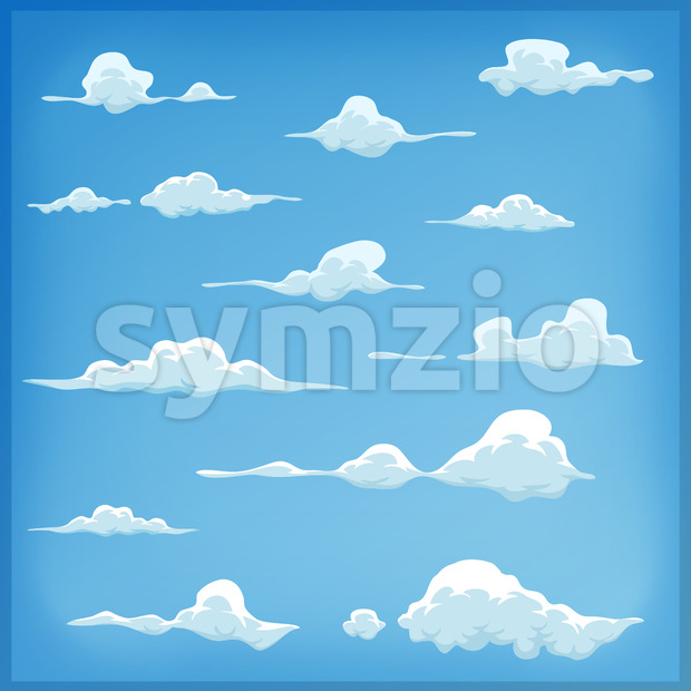 Cartoon Clouds Set On Blue Sky Background Stock Vector
