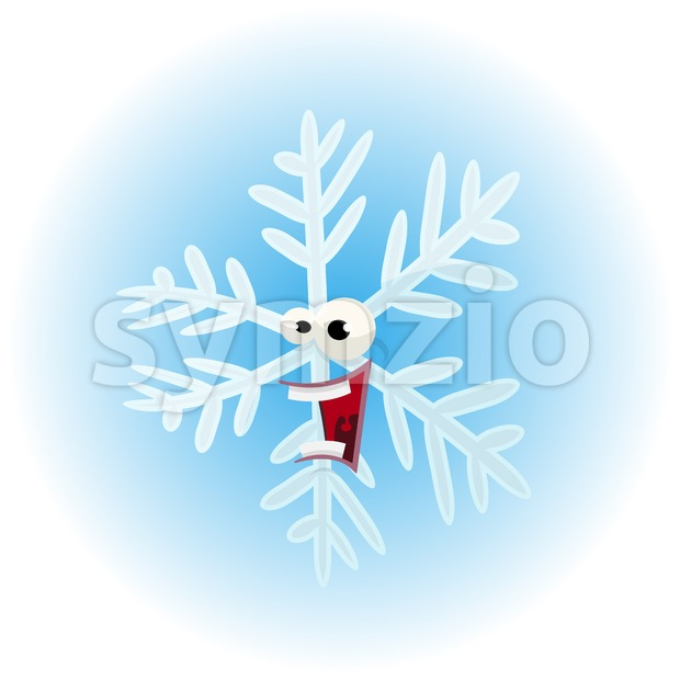 Cartoon Funny Snowflake Character Stock Vector
