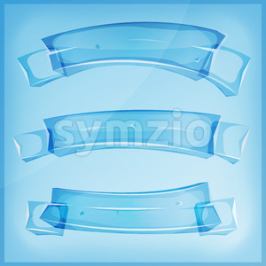 Transparent Glass Or Crystal Banners And Ribbons Stock Vector