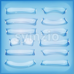 Cartoon Glass Ice and Crystal Banners Stock Photo