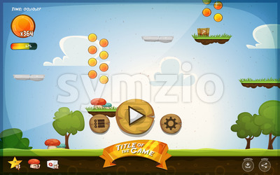 Platform Game User Interface For Tablet Stock Vector