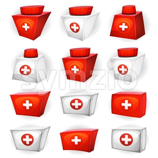 Illustration of a cartoon health and medicine resource icons set for game ui