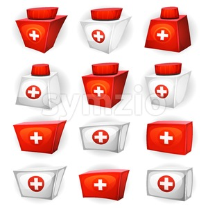 Medicine Box Icons For Ui Game Stock Vector