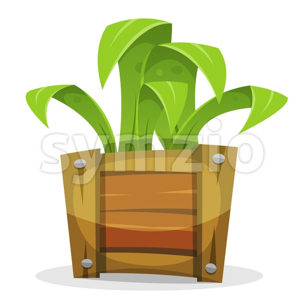Funny Green Plant In Wood Bucket Stock Vector