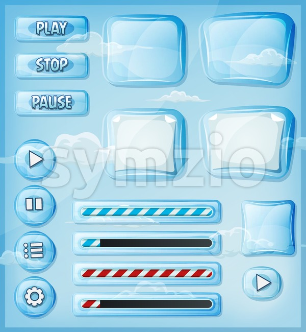 Glass Transparent Icons Set For Ui Game Stock Vector