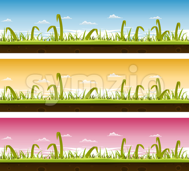 Grass And Lawn Landscape Set Stock Vector