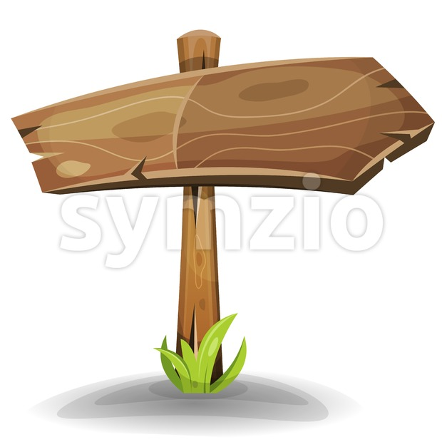 Comic Wooden Sign Arrow Stock Vector