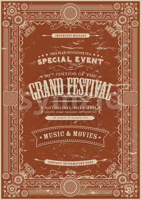 Vintage Retro Festival Poster Background Stock Vector