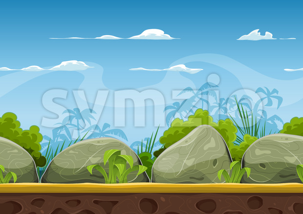 Seamless Tropical Beach Landscape For Ui Game Stock Vector