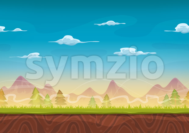Seamless Mountains Landscape For Ui Game Stock Photo