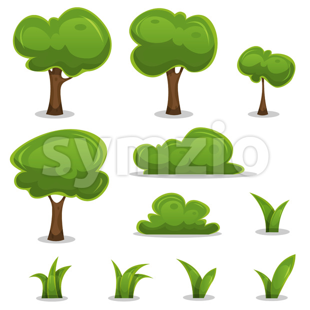 Illustration of a set of cartoon spring or summer little trees and green icons, with bush, hedges and blades of ...