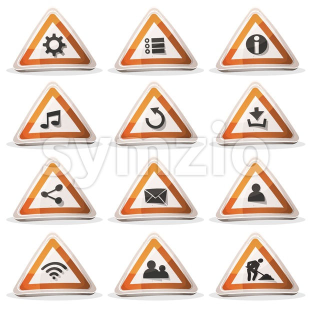 Illustration of a set of cartoon comic triangle warning road signs ui game icons and buttons elements, with main user ...