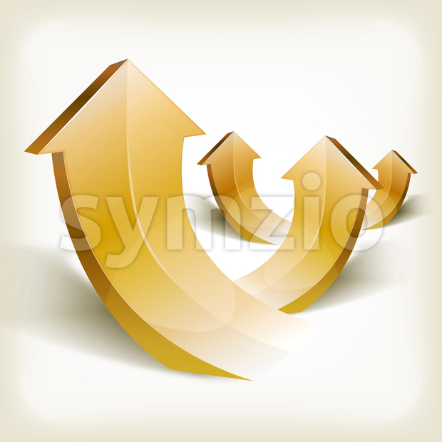 Illustration of an arrangement of abstract gold successful rising arrows, symbolizing growth, wealth and success on vintage background