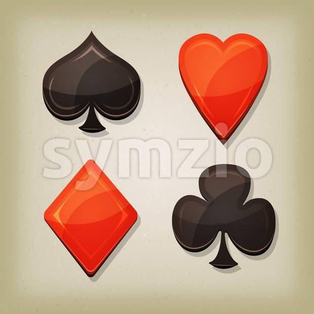 Vintage Retro Gambling Cards Icons Stock Vector