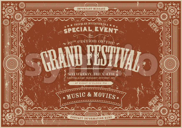 Vintage Retro Festival Poster Background Stock Photo
